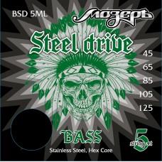 BSD-5ML Steel Drive Комплект струн для 5-струнной бас-гитары, сталь, 45-125, Мозеръ
