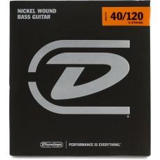 DBN40120 Комплект струн для 5-струнной бас-гитары, никелированные, Light, 40-120, Dunlop
