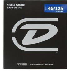 DBN45125 Комплект струн для 5-струнной бас-гитары, никелированные, Medium, 45-125, Dunlop